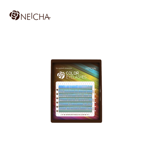 Ресницы NEICHA нейша цветные 6 линий MIX св-голубой
