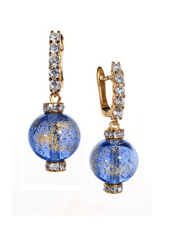 Серьги из муранского стекла со стразами Franchesca  Ca'D'oro Medio Gold Sapfir 056O