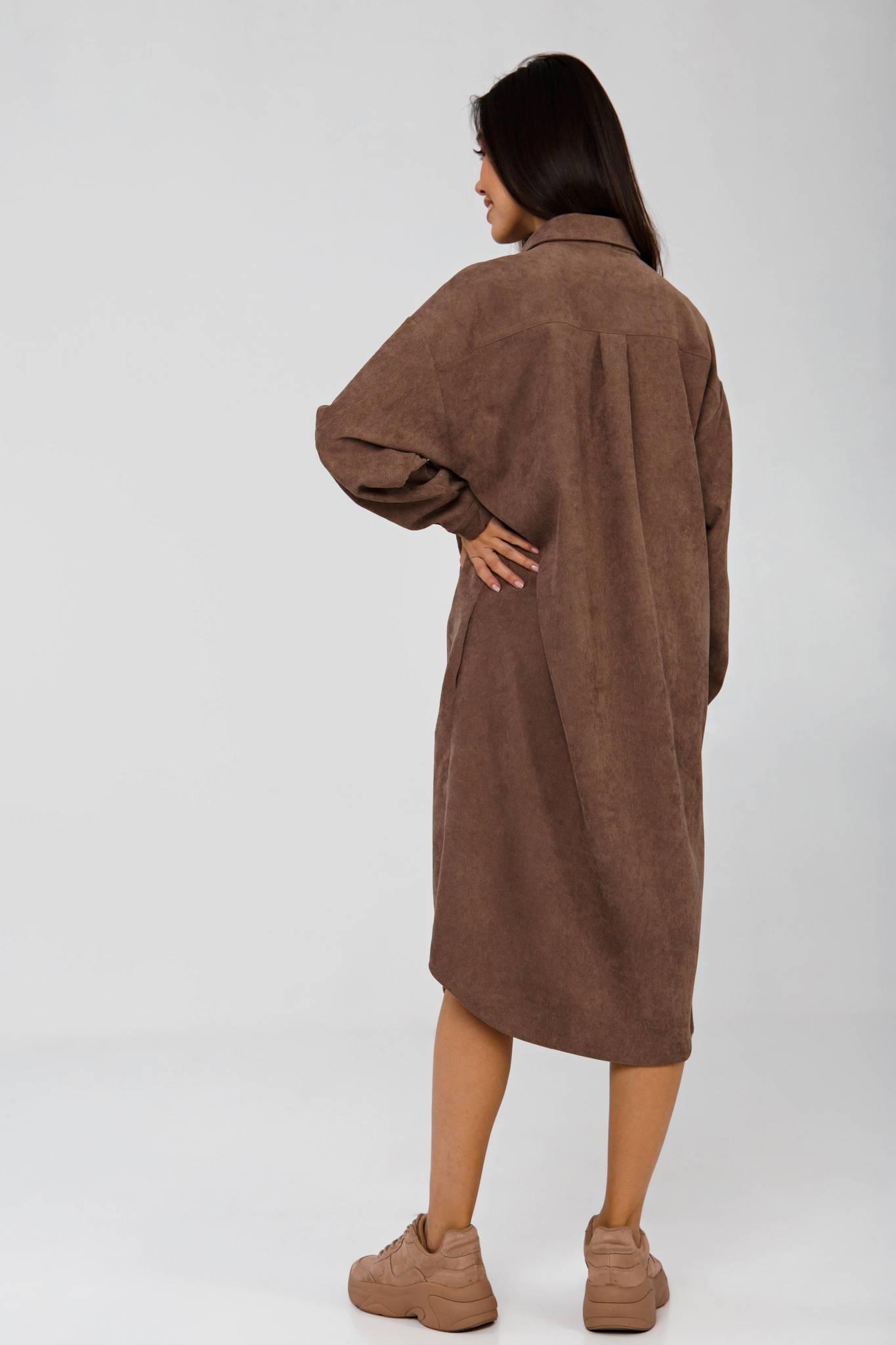 Платье-рубашка темно-бежевое из вельвета в рубчик YOS