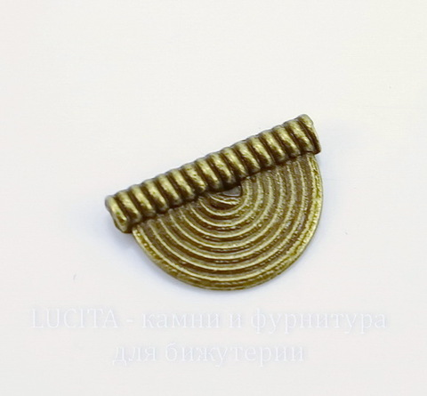 """Бусина металлическая """"Полукруг"""" 16х10 мм (цвет - античная бронза)"""