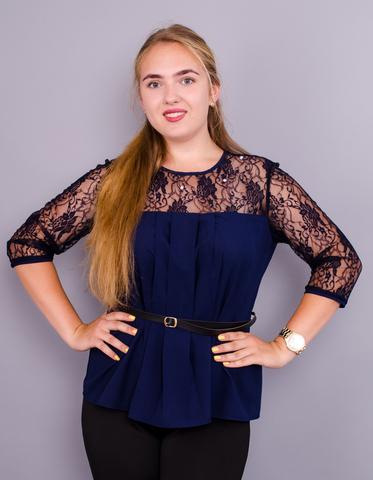 Тамара. Стильна жіноча блуза великого розміру. Синій.