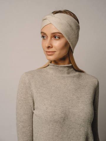 Женская повязка на голову молочного цвета из кашемира - фото 2