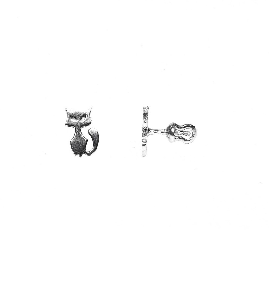 Cat Puset Earring (large), sterling silver