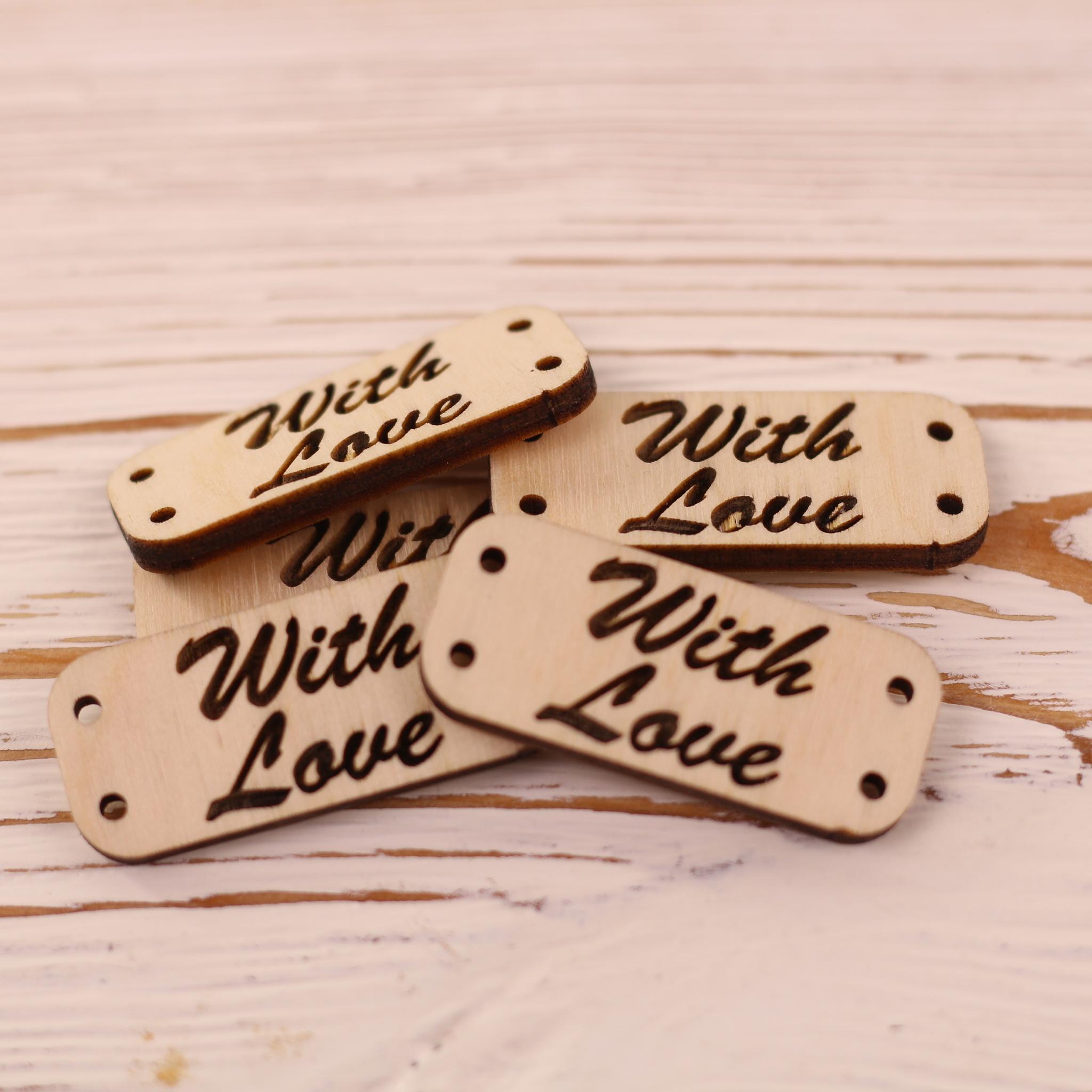 "Вспомогательная фурнитура Бирки деревянные ""With Love "" 5 штук IMG_5639.JPG"