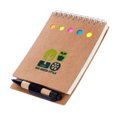 Блокнот, Lejoys, Recycled, в комплекте со стикерами и шариковой ручкой, 90*130 мм