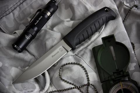 Туристический нож Финский Х12МФ Черный Эластрон