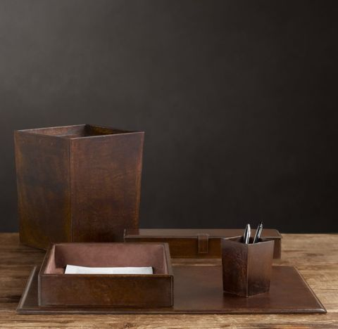 Artisan Leather Desk Accessories - Chocolate