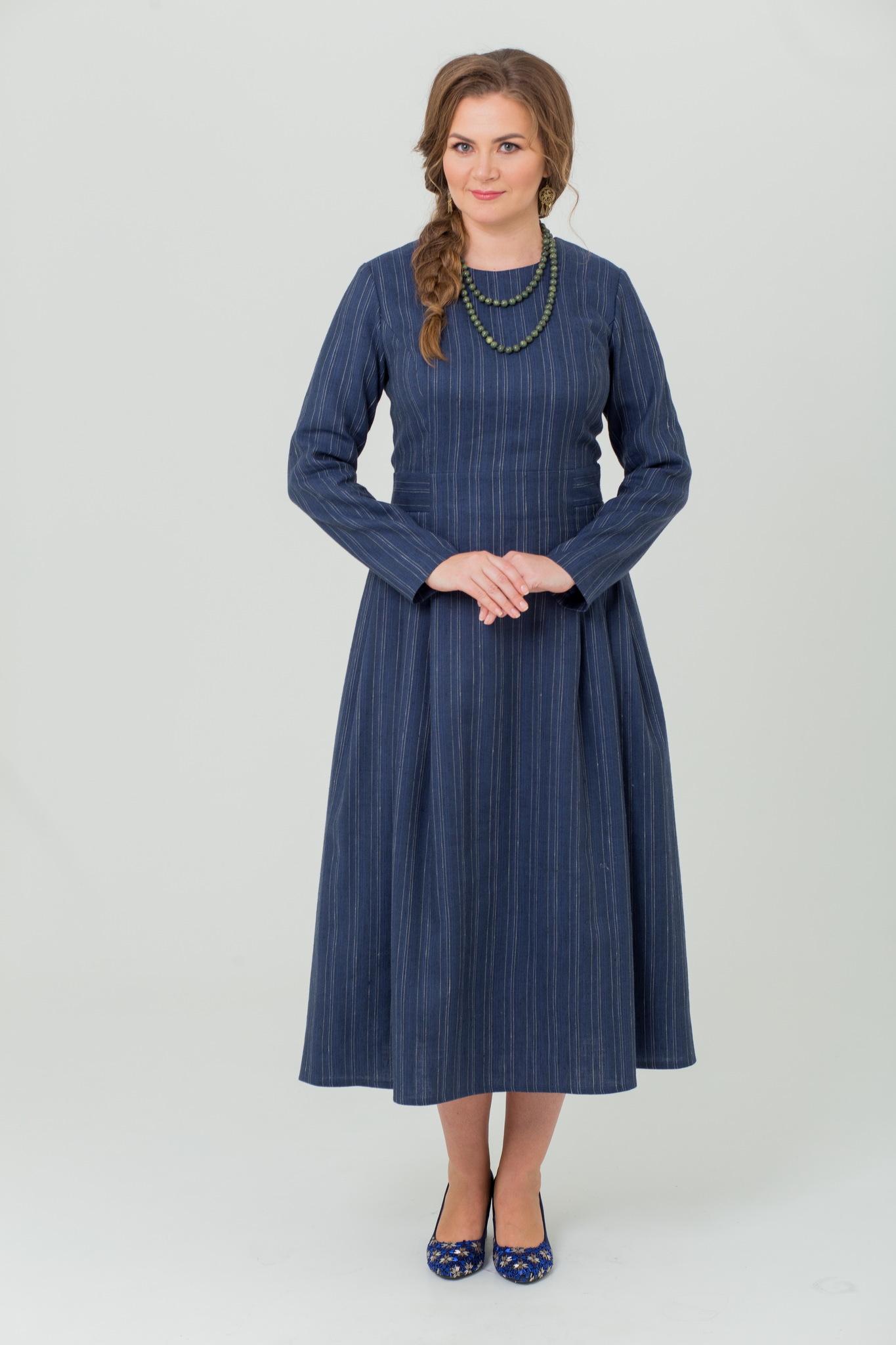 Платье льняное миди с шерстью Черника