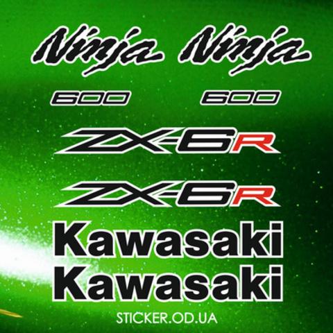 Набор виниловых наклеек на мотоцикл KAWASAKI ZX-6R, Ninja, 2012