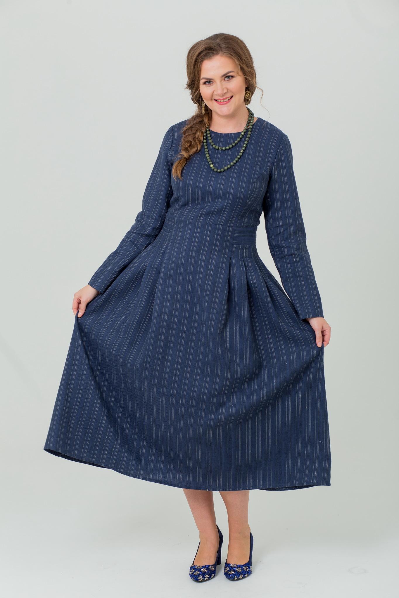 Льняное платье миди Черника в русском стиле