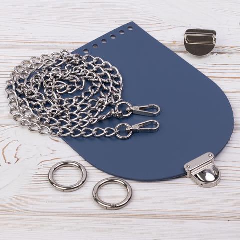 """Комплект для сумочки Орео """"Синий"""" с цепочкой"""