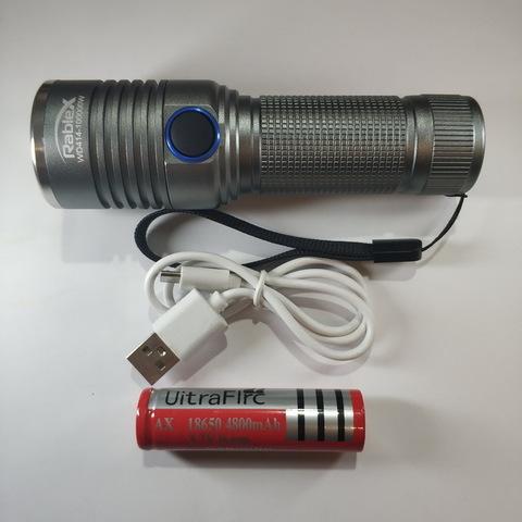 Ф.ручной WD414-T6, zoom, 1x18650, зажим, ЗУ microUSB