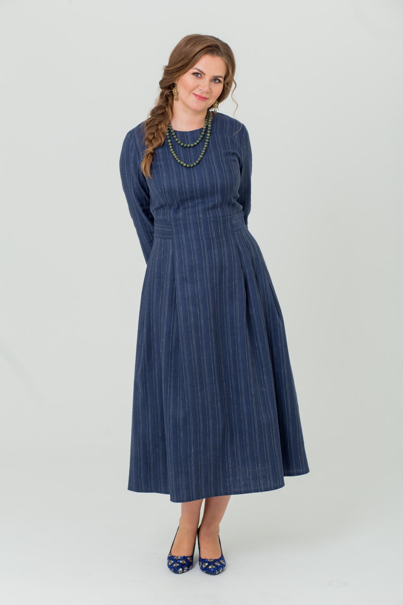 Платье миди славянское из льна и шерсти Черника купить