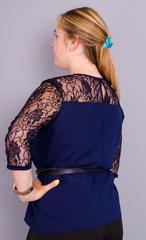 Тамара. Стильная женская блуза большого размера. Синий.