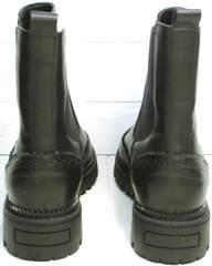 Ботинки женские италия на низком каблуке Jina 7113 Leather Black.