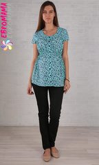 Евромама. Блуза для беременных ментоловая, хлопок-шифон 8101, ментол, размер 50