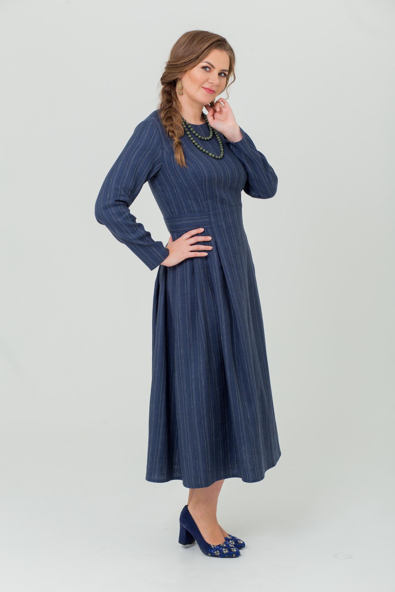 Тёплое платье на зиму с шерстью Черника