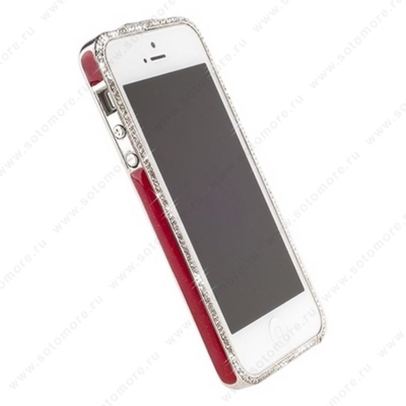 Бампер Newsh металлический для iPhone SE/ 5s/ 5C/ 5 со стразами красный