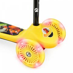Детский самокат трёхколёсный (жёлтый) - светящиеся колёса