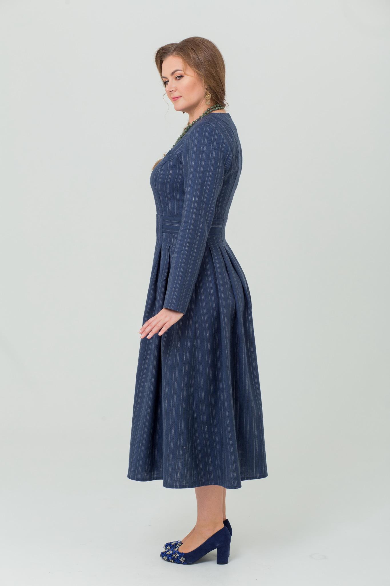 Платье русское тёплое с длинным рукавом Черника