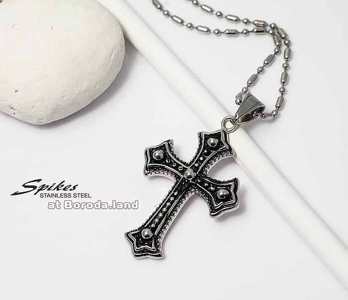 SSPM-5998 Красивая подвеска крест «Spikes» с чернением из ювелирной стали фото 01