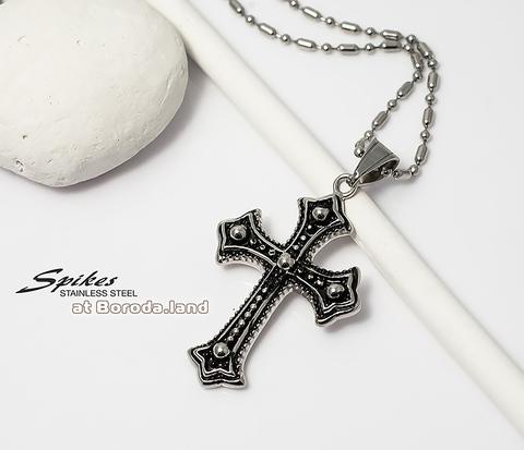 Красивая подвеска крест «Spikes» с чернением из ювелирной стали