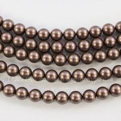 5810 Хрустальный жемчуг Сваровски Crystal Velvet Brown круглый 6 мм, 5 шт