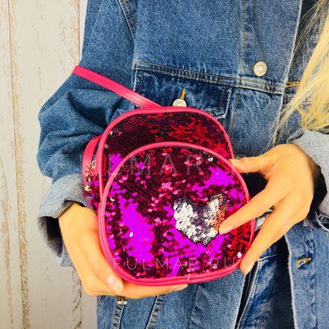 Рюкзак-сумка Трансформер с пайетками меняющие цвет Фуксия-Серебристый