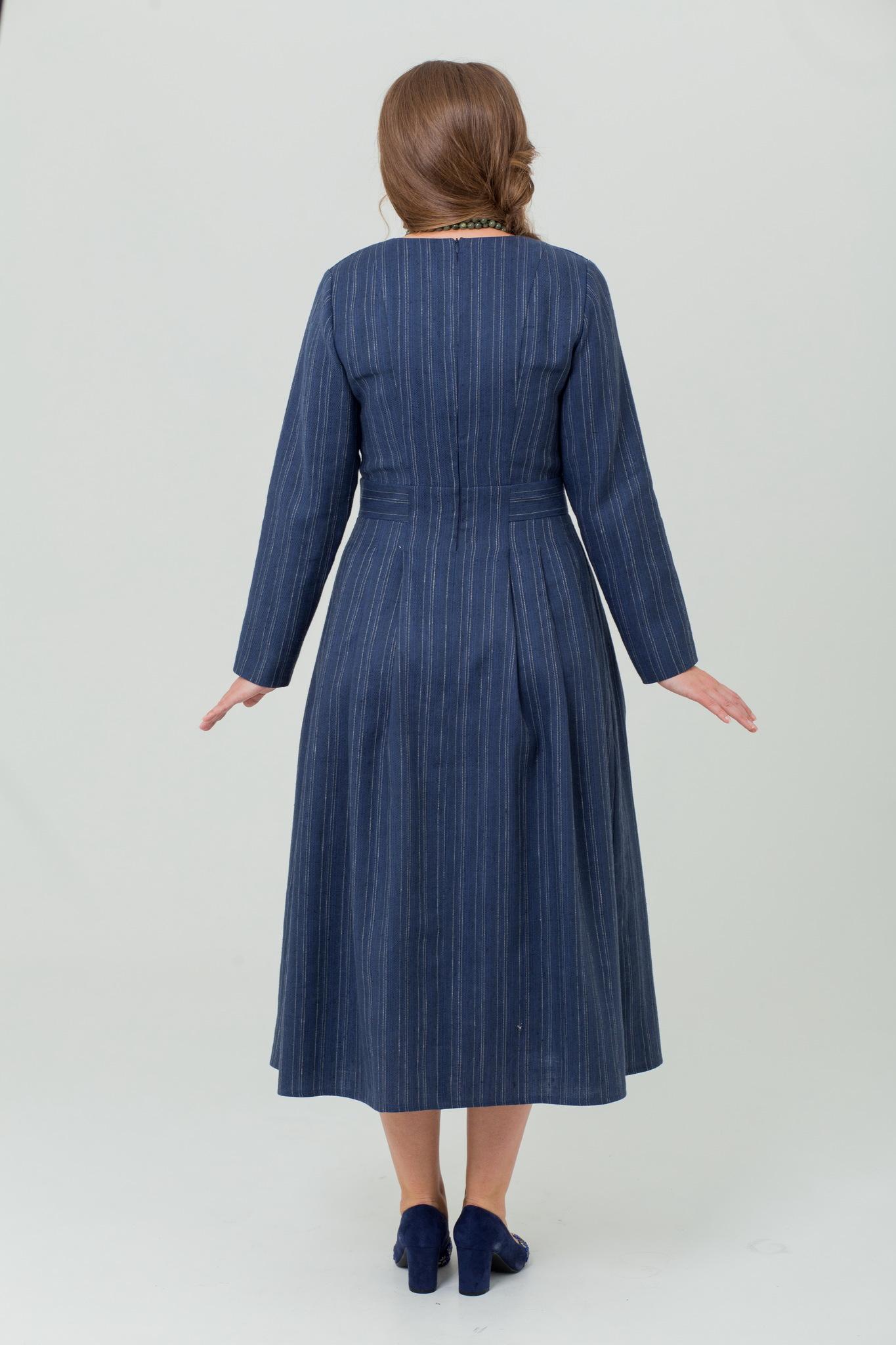 Льняное платье тёплое Черника купить