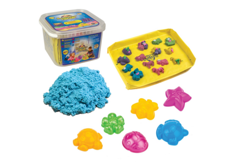 Кинетический песок с Песочницей и Формочками. Голубой 2 кг