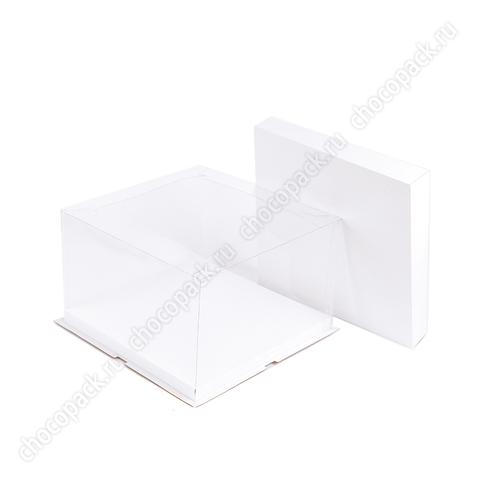 Короб 30 х 30 х 19 см прозрачными стенками для тортов до 5 кг