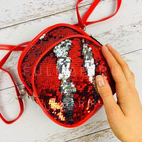 Рюкзак-сумка Трансформер с пайетками меняющие цвет Красно-Серебристый