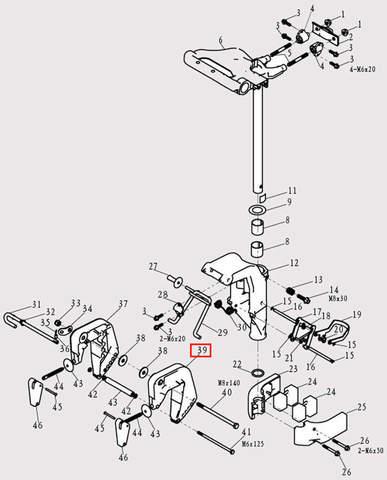 Струбцина левая для лодочного мотора F9.8 Sea-PRO (13-39)