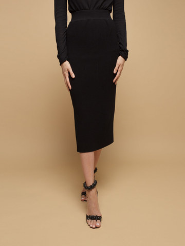 Black female skirt made of wool - фото 3