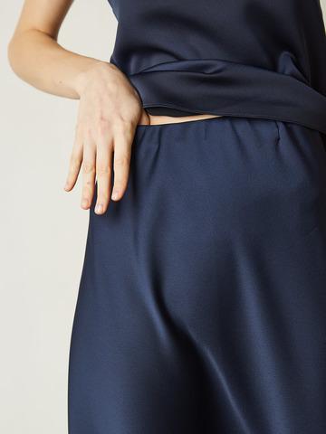 Юбка из смесового шелка темно-синий (205149)