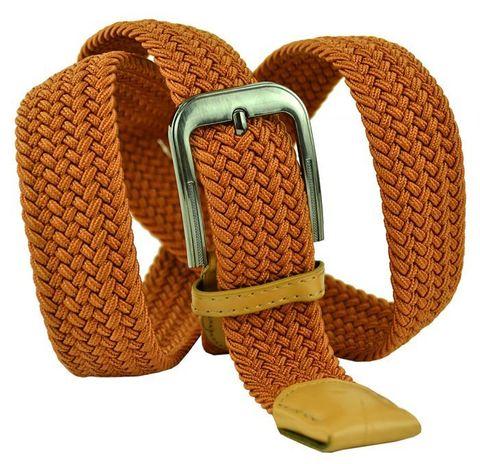 Ремень текстильный резинка мужской брючный рыжий оранжевый  большого размера 35 мм 35Rezinka-B-010