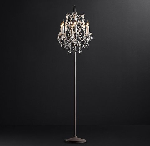 19th C. Rococo Iron & Clear Crystal Floor Lamp