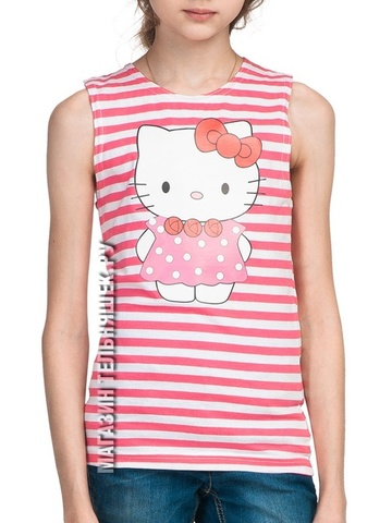 Розовая майка-тельняшка Hello Kitty