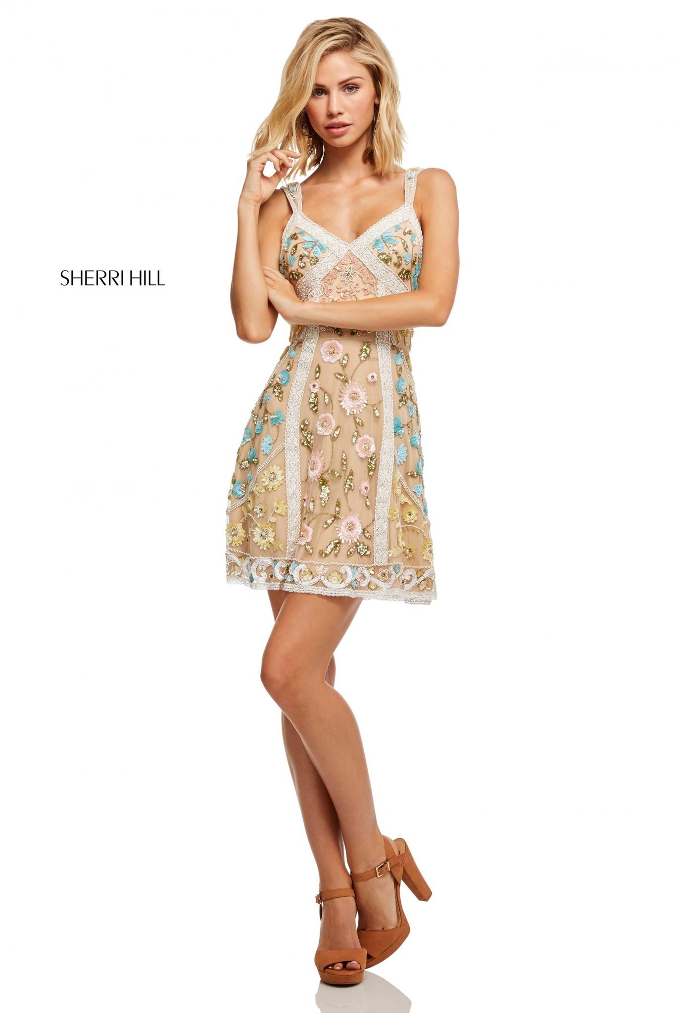 Sherri Hill 52669 Коктейльное, легкое, игривое платье, расшитое пайетками и бисером