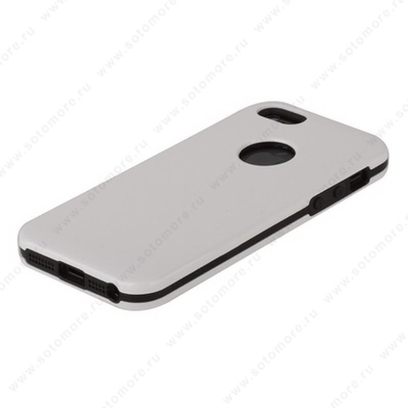 Накладка REMAX для iPhone SE/ 5s/ 5C/ 5 с отверстием под яблоко белая с черным кантом