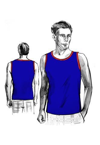 Выкройка мужской футболки без рукава