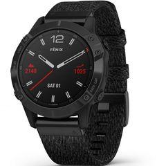 Мультиспортивные часы Garmin  Fenix 6 - черный DLC с плетеным черным нейлоновым ремешком 010-02158-17
