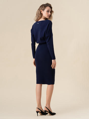 Женское платье темно-синего цвета из 100% кашемира - фото 2