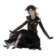 Кукла фарфоровая коллекционная Marigio Lidia 39 см в черном