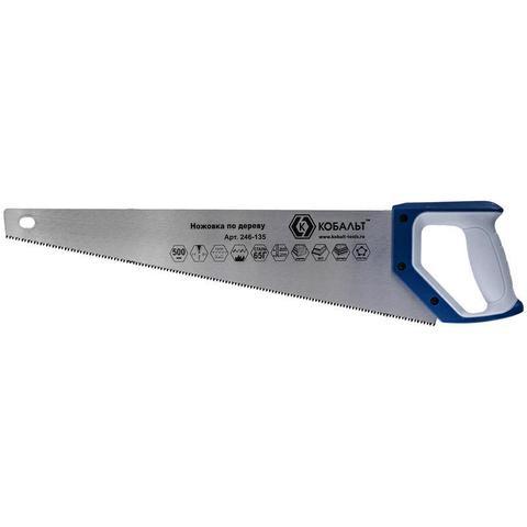 Ножовка по дереву КОБАЛЬТ 500 мм, шаг 3,5 мм/ 7 TPI, закаленный зуб, 3D-заточка, двухкомпо (246-135)
