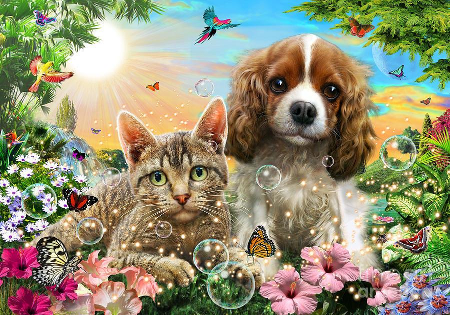 Картина раскраска по номерам 40x50 Кошка и собака на ...