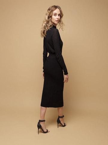 Black female skirt made of wool - фото 4