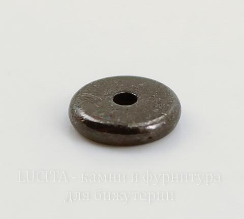 """Бусина - спейсер TierraCast """"Диск"""" 7х2 мм (цвет-черный никель)"""
