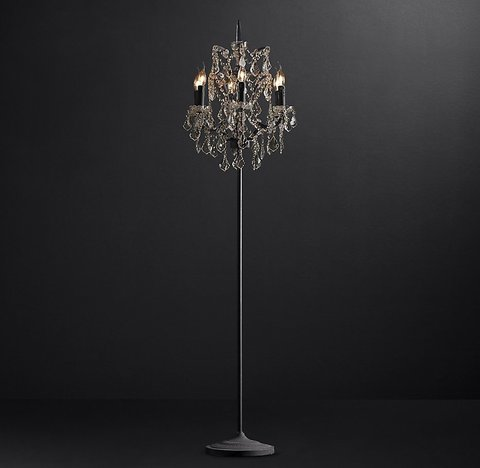 19th C. Rococo Iron & Smoke Crystal Floor Lamp