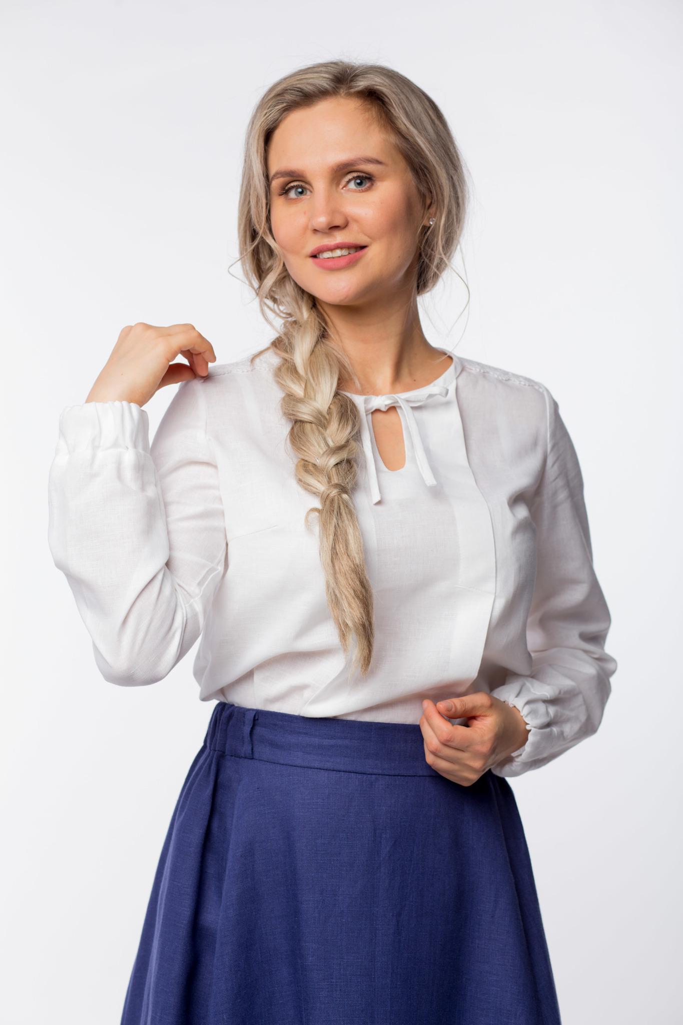 Блуза льняная Хрусталь с кружевом